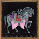 Indian Horse Painting Handmade Rajasthani Animal Lotus Petal Miniature Decor Art