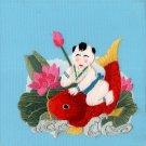 Chinese Silk Embroidery Handicraft Handmade China Nianhua Baby Fish Ethnic Art