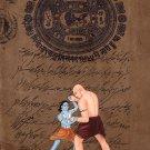 Krishna Kamsa Wrestling Painting Handmade Indian Miniature Hindu Ethnic Folk Art