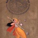 Hindu Narada Muni Painting Handmade Indian Deity Old Stamp Paper Watercolor Art