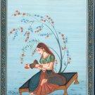 Musician Ragini Miniature Painting India Rajasthani Ethnic Handmade Ragamala Art