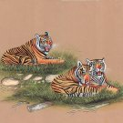 Royal Bengal Tiger Painting Handmade Wild Nature Ethnic Indian Miniature Art