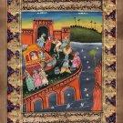 Indian Moghul Miniature Painting Handmade Mughal Empire Royal Procession Art