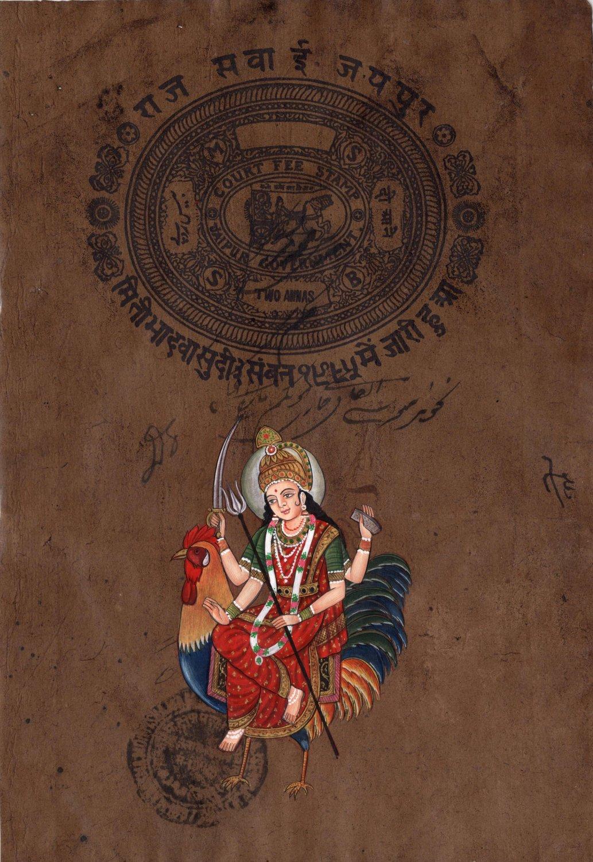 Bahuchara Mata Art Hindu Goddess Religious Handmade Spiritual Ethnic Painting