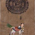 Kamadhenu Cow Goddess Miniature Art Handmade Hindu Spiritual Ethnic Painting