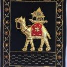 Indian Velvet Embroidery Art Handmade Jaipur Camel Decor Ethnic Folk Handicraft