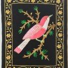 Indian Velvet Embroidery Myna Bird Art Handmade Floral Decor Ethnic Handicraft