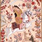 Persian Miniature Princess Portrait Painting Handmade Iran Asian Ethnic Art