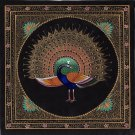 Handmade Indian Peacock Painting Feather Pattern Watercolor Silk Decor Artwork