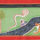 Kangra School Art Handmade Indian Miniature Bal Krishna Vasudeva Pahari Painting
