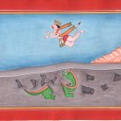Kangra School Hanuman Painting Handmade Indian Miniature Hindu Saga Pahari Art