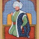 Persian Shah Portrait Painting Handpainted Watercolor Iran History Asian Art