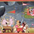 Kangra Art Handmade Indian Miniature Rama Lakshmana Garuda Pahari Folk Painting