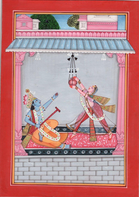 Kangra School Love Art Handmade Indian Miniature Krishna Radha Pahari Painting