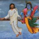 Jesus Christ Lord Krishna Art Handmade Christian Hindu Ethnic Spiritual Painting