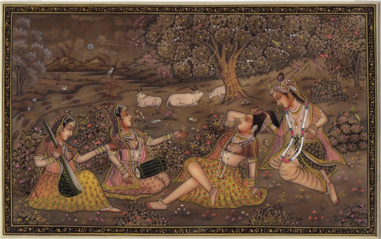 Radha Krishna Hindu Miniature Painting Handmade Indian Religious Ethnic God Art