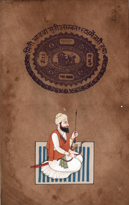 Sikh Chief Bhag Singh Ahluwalia Art Indian Miniature Punjabi Warrior Painting