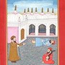 Kangra School Art Handmade Indian Miniature Guru Nanak Ethnic Pahari Painting