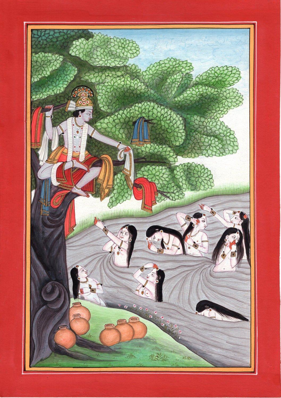Kangra Pahari Krishna Radha Gopi Art Handmade Indian Miniature Ethnic Painting