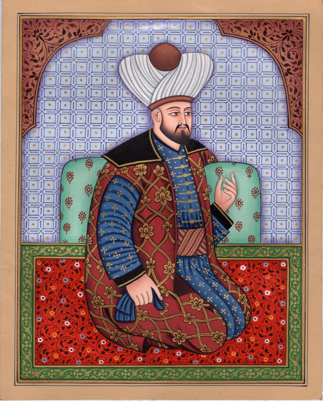 Persian Shah Portrait Art Handmade Watercolor Iran History Asian Painting
