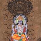 Vishnu Hindu God Art Indian Miniature Religious Handmade Spiritual Folk Painting