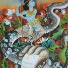 Krishna Kaliya Mardanam Painting Handmade Indian Hindu Canvas Oil Ethnic Art