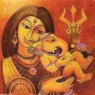 Parvati Baby Ganesha Painting Handmade Spiritual Hindu Indian Goddess Deity Art
