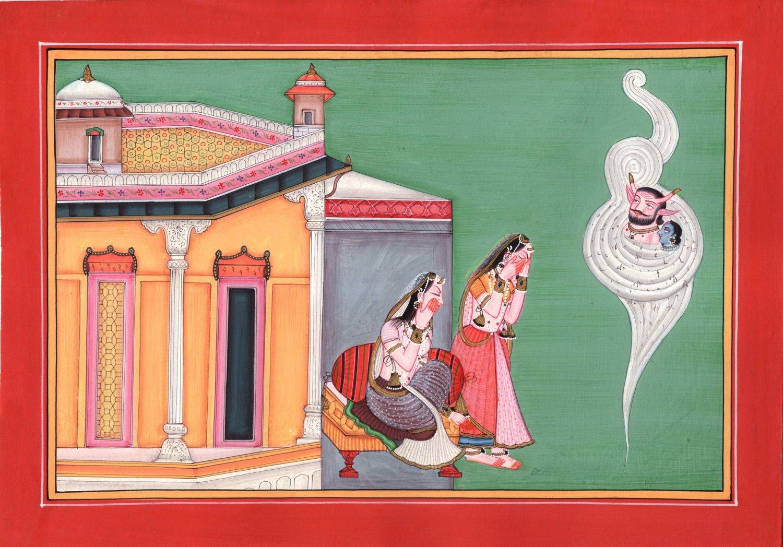 Kangra School Art Handmade Indian Miniature Bala Krishna Demon Pahari Painting
