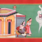 Kangra School Art Handmade Indian Miniature Bala Krishna Demon Pahari Painting