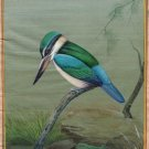 Bird Nature Ethnic Art Handmade Sacred Kingfisher Indian Miniature Wall Painting