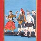 Indian Kangra Pahari Painting Handmade Rajasthani Musician Ethnic Miniature Art