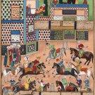 Indo Persian Polo Sport Miniature Painting Handmade Khamsa Nizami Ethnic Art