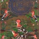 Hoopoe Bird Art Handmade Ethnic Indian Miniature Stamp Paper Nature Painting