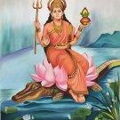 Ganga Mother Goddess Art Handmade Indian Ethnic Decor Hindu Oil Canvas Painting