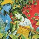 Krishna Radha Modern Painting Handmade Hindu Oil on Canvas Wall Decor Indian Art