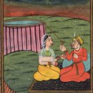 Mughal Miniature Ethnic Painting Handmade Indian Moghul Harem Watercolor Art