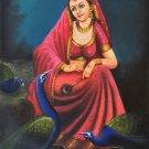 Rajasthani Ethnic Art Handmade Indian Damsel Peacock Decor Canvas Oil Painting