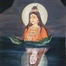 Shiva Parvati Hindu Painting Indian Deity Oil on Canvas Hand Painted Ethnic Art