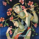 Krishna Radha Hindu Art Indian Deity Oil on Canvas Hand Painted Decor Painting