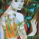 Radha Krishna Divine Indian Art Hindu Deity Handmade Decor Oil Canvas Painting