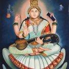 Hindu Saraswati Goddess Ethnic Art Handmade Indian Canvas Oil Decor Folk Art