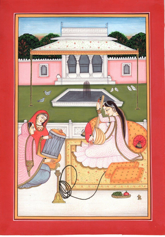 Kangra Ragini Art Handmade Indian Miniature Pahari Ragamala Ethnic Folk Painting