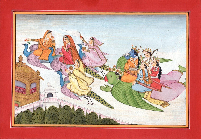 Kangra Krishna Garuda Art Handmade Indian Miniature Pahari Folk Ethnic Painting