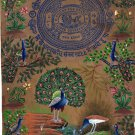 Indian Blue Green Feather Peacock Painting Handmade Stamp Paper Nature Bird Art
