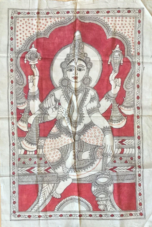 Kalamkari Goddess Painting Handmade Indian Ethnic Folk Cotton Fabric Design Art