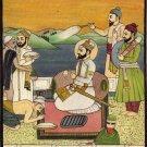 Guru Hargobind Sikh Painting Handmade Indian Ethnic Oil Canvas Sikhism Folk Art
