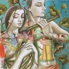 Krishna Radha Hindu Oil on Canvas Art Indian Deity Hand Painted Ethnic Painting