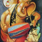 Ganesh Hindu Painting Handmade Ganesha Indian Canvas Oil Ganpati Wall Decor Art