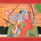 Vishnu Lakshmi Garuda Kangra Miniature Painting Handmade Indian Hindu Deity Art
