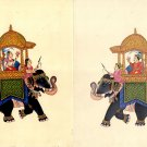 Mughal Miniature Ambabari Art Handmade Indian Emperor Elephant Ethnic Painting